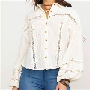 Free People Summer Stars Button Down Top NWT L